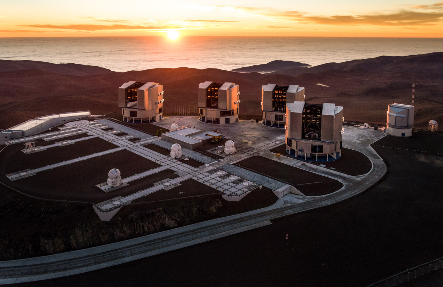 The VLT telescopes are ready for observation at sunset